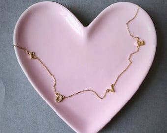 Gold - L O V E - Necklace - Gold plated over Sterling Silver