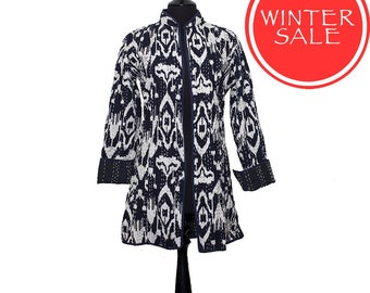 WINTER SALE - IKAT Jacket - All sizes - Black and White