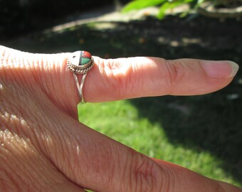 Kachina Sunface Inlay and Sterling Silver Ring Size 4.75