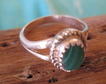 Malachite and Sterling Ring Size 5