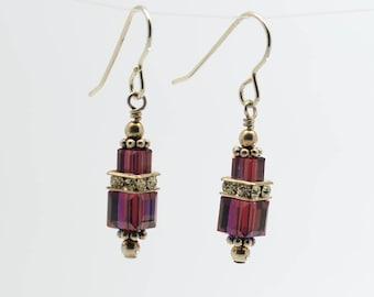 Dark Purple Amethyst Swarovski Crystal Squaredelle Earrings // January birthstone earrings // Special occasion earring // Gifts for under 20