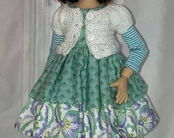 6 pc. dress and sweater set fits Kaye Wiggs msd Mei Mei, Lenny, Gracie bjd.