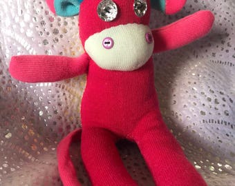 Poppy, Girl Sock, Sock Monkey, Plushie, Cuddly Toy, Unique, Hand Made, One of a Kind