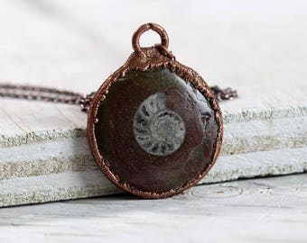 Ammonite Necklace Fossil Jewelry Science Geek Copper Necklace Electroformed Jewelry Unique Gift Geology Gift
