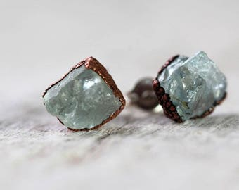 Aquamarine Earrings Blue Stone Posts Sterling Silver Studs Electroformed Earrings Copper Jewelry Gemstone Jewelry Natural Stone