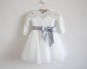 Light Ivory Flower Girl Dress Silver Long Sleeves Lace Tulle Flower Girl Dress With Silver Sash/Bows