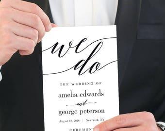 Wedding Program Editable Template - Printable Wedding Program - Instant Download - Modern Script #MSC
