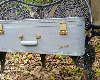 "Vintage Starline Pastel Blue 26"" Suitcase Lady Baltimore"