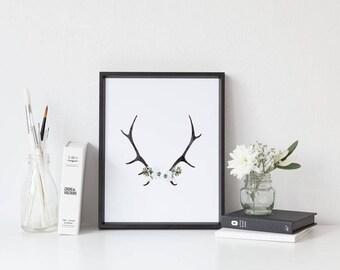 watercolor antler print/deer roses antlers/deer antlers/rustic antler print/floral antlers/black and white/deer antlers decor/poster