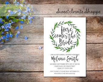 Greenery Bridal Shower Invitation, Green Leaves Bridal Invitation, Greenery Wedding Shower Invitation, Botanical Bridal Invitation, Rustic