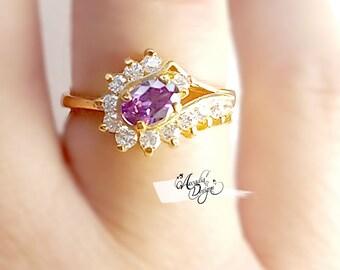 Amethyst Gemstone Quartz Golden Ring. February Birthstone Purple Stone Jewelry Art Deco Crescent Galaxy Lavender Gem Ring | Bridesmaid Gift