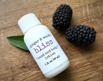Bliss Hand and Body Lotion SAMPLE SIZE - Blackberry Sage - Hand and Body Lotion - Blackberry Lotion - Vegan Lotion - Hand Lotion