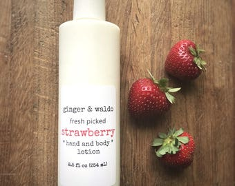 Strawberry Hand and Body Lotion - Strawberry - Hand and Body Lotion - Strawberry Lotion - Vegan Lotion - Hand Lotion - Fresh Picked Collecti
