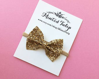 Gold Glitter Sparkle Bow on Headband or Hair Clip Baby Toddler Kids