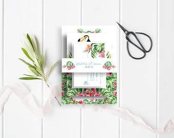 Tropical Wedding belly-band - Tropical Belly-Band - Wedding Belly-Band for invitations - Exotic Belly-Band - Tropical Wedding Invitation