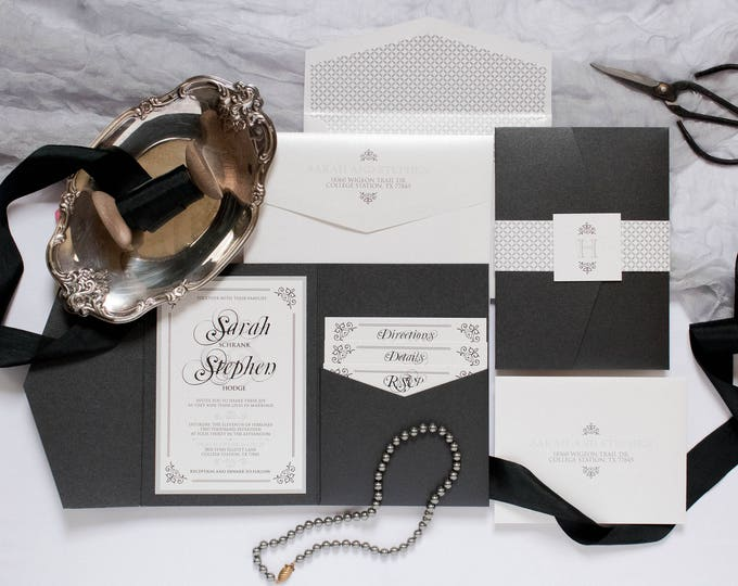 Traditional Formal Black Grey, Silver Pocket Wedding Invitation with Address Printing, Band, Monogram & Inserts. Different Colors Options