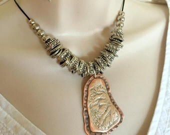 Reticulated Sterling Silver and Copper necklace set,  Copper stamped necklace, Women's Jewelry, Arizona Mountain necklace set