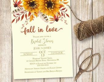 Fall In Love Bridal Shower Invitation, Sunflower Bridal Shower Invite, Fall Bridal Shower Invitation, Autumn Bridal Shower Invite