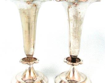 Antique Vintage Pair of Vases, Silver Plate, Floral Display, Bud Vases, Trumpet Vases, Distressed Look, Cottage Chic, Unique Finish, Retro