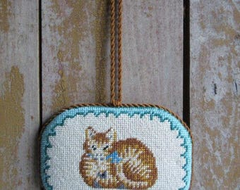 Vintage Handmade Needlepoint Cat Ornament, Orange Cat,Wall Hanging,Cat Lover Gift,Door,Tree Ornament,Orange Cat,Gift,Christmas Tree Ornament