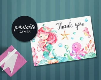 Mermaid Thank you Card Printable, Baby Shower Thank You Card, Mermaid Birthday Thank You Card, Printable Thank you Card Under the sea Party