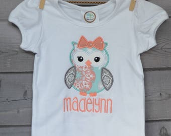 Personalized Fall Owl Applique Shirt or Onesie