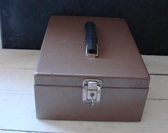 Vintage Rockaway Metal Products File Box with Keys Office Industrial Storage
