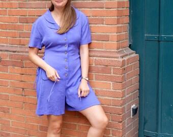 Vintage  combishort, electric blue
