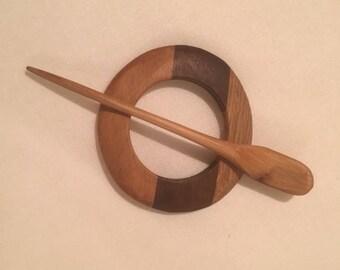 Oak,Beech and Walnut Shawl Pin