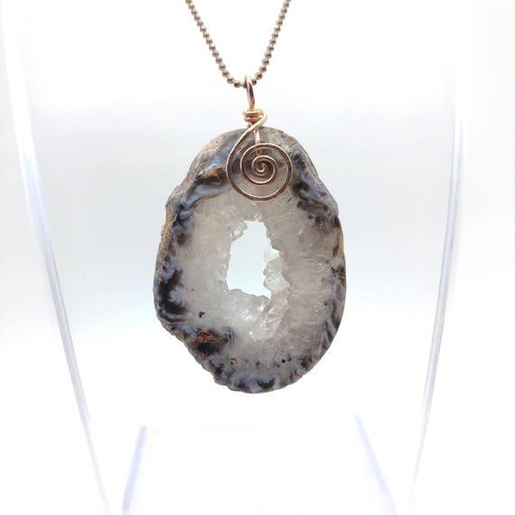 Druzy Geode Necklace   14kt Rose Gold Filled Pendant   Raw Crystal Pendant   Drusy Geode Slice Necklace   Quartz Crystal Geode Pendant