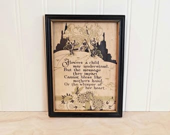 Antique Framed Mother Poem Mother Print Framed Motto Buzza Motto Style Mother Motto 1920's Art Deco Picture Antique Framed Art Deco Print