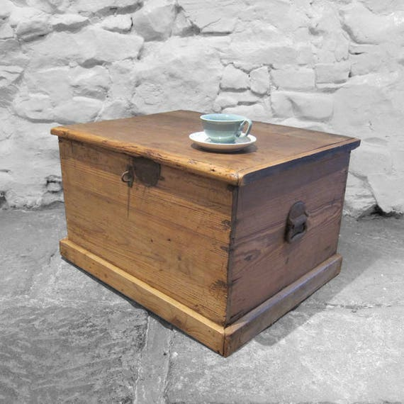 Antique Pine Chest Rustic Old Vintage Coffee Table