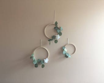 Set of 3 Eucalyptus Hoop Greenery Ring Wreath Wall Hanging Decor Boho Bohemian Modern Spring Nursery Floral White Flower Wooden Plant