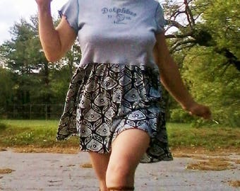 DOLPHINS RUFFLE TOP T-Shirt Dress Upcycled T-Shirt Recycled Dress Upcycled Top Beach Dress Miami Dolphins Top Tribal Top Boho Top Hippie Top