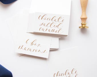 Modern Calligraphy White and Gold Escort Cards |Place Cards |Name Cards|Wedding Guest Favor|Wedding Stationery|Watercolor Place Cards
