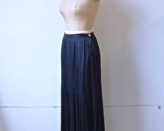 Chanel Black Silk Maxi Skirt