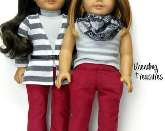 18 inch doll clothes made to fit like american girl doll clothes stone gray turtleneck top and cranberry corduroy jeans
