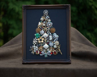 Framed Vintage Jewelry Art Christmas Tree, One- of-a- Kind Bow Tree
