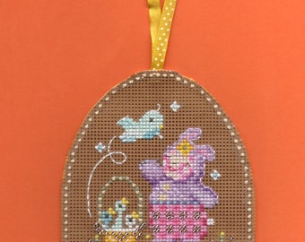 Completed Cross stitch ornament Rejoice!