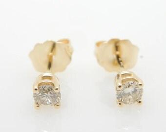 14K Yellow Gold 0.34cttw H/VS2-SI Round Brilliant Diamond 4-Prong Stud Earrings; sku # 3980