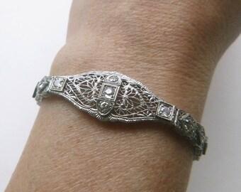 Edwardian to Art Deco lace filigree 1 carat diamond 14k solid white gold bracelet 6.25 inches