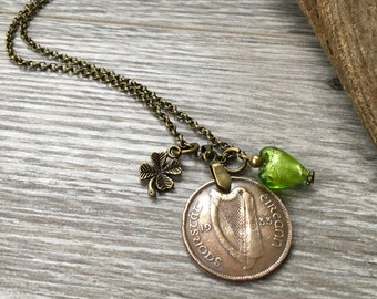 1933 Irish coin necklace, 84th birthday present for her, shamrock, gift for an Irish girl, woman, mama pig and baby pigs, jewelry, Ireland,