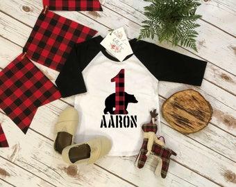 First Birthday Shirt, Lumberjack Birthday, Baby Boy Birthday shirt, Personalized Birthday Boy, Lumberjack Party, Buffalo Plaid Bear Shirt