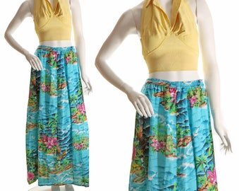 1960s Full Length Hawaiian Tropical Island Scenic Print Skirt-M-XXL