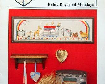 Rainy Days And Mondays By Pat Thode and Heartstrings Vintage Cross Stitch Pattern Leaflet 1993