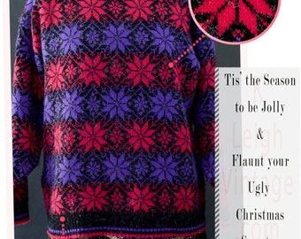 Ugly Christmas Sweater, Ugly Christmas Jumper, Snowflake Sweater, Oversized Sweater, 80s Holiday Party Sweater, Women's Sized Medium Large