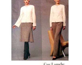 """Vogue 2578 Guy Laroche Lined Jacket, Slightly Flared Skirt, and Pants Sewing Pattern Misses Size 8, 10, 12 Bust 31 1/2, 32 1/2, 34"""" Uncut"""
