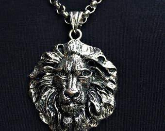 Men's Silver Lion Pendant Necklace \\ Silver Jewelry \\ Silver Chain