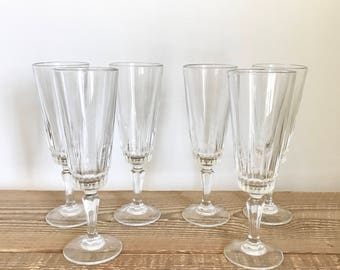 Set of 6 Vintage French Champagne Flutes