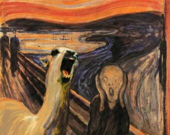 The Scream by Edward Munch Parody with Screaming Llama - Llama Drama - Altered Art - Print Poster Canvas - Funny Pop Culture Angry Alpaca